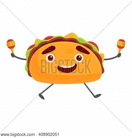 Tacos With Maracas Icon. Cartoon Of Tacos With Maracas Vector Icon For Web Design Isolated On White