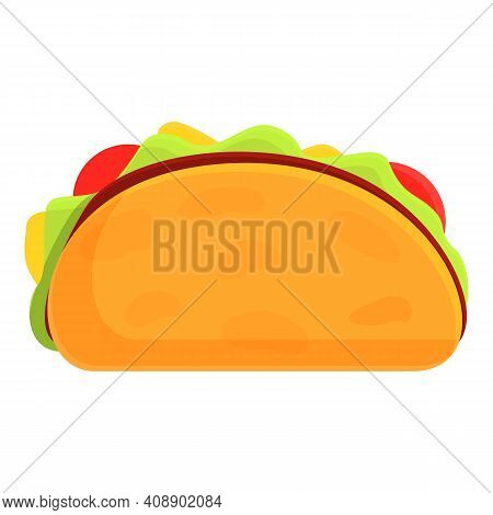 Delicious Tacos Icon. Cartoon Of Delicious Tacos Vector Icon For Web Design Isolated On White Backgr