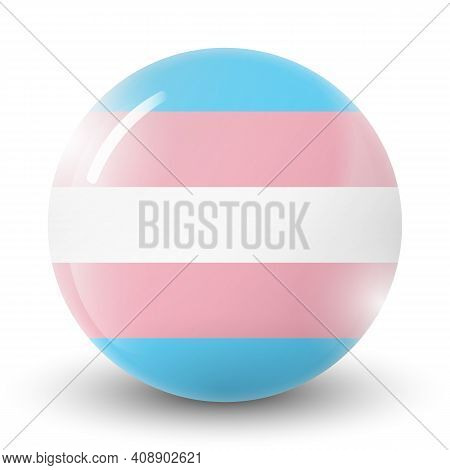 Glass Light Ball With Flag Of Transgender. Round Sphere, Template Icon. Glossy Realistic Ball, 3d Ab