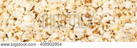 Top View Of Airy Crunchy Popcorn, Banner, Cinema Concept.