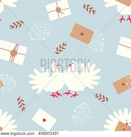 Seamless Pattern With White Doves - A Symbol Of Peace And Family Well-being. Love Letters, Dried Pla