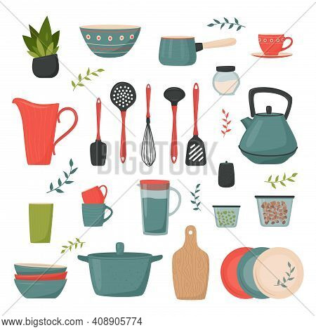Set Of Kitchen Accessory. Vector Kitchen Tools In Retro Style. Household Utensil And Cutlery, Crocke