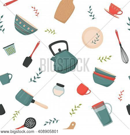 Seamless Pattern With Kitchen Accessory. Vector Kitchen Tools In Retro Style. Household Utensil And