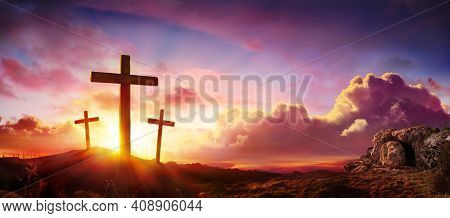 Crucifixion And Resurrection Of Jesus At Sunrise