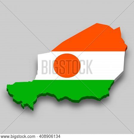 3d Isometric Map Of Niger With National Flag. Vector Illustration.