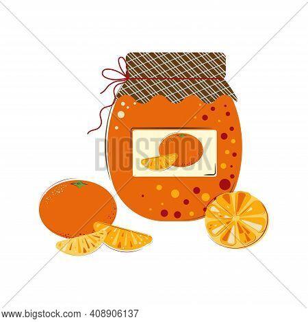 Jar Of Sunny Juicy Mandarins Jam. Homemade Jam From Fresh Mandarins.