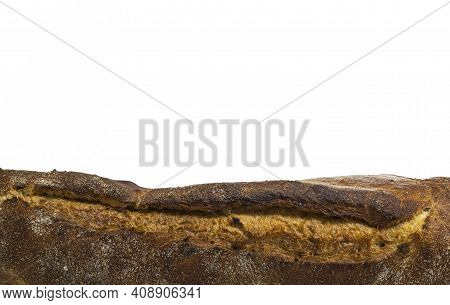 Baguette Baking Bread On A White Background Copy Space