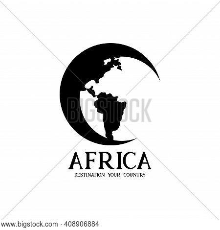 Africa Illustration Design Logo Vector. Africa Globe Design Vector