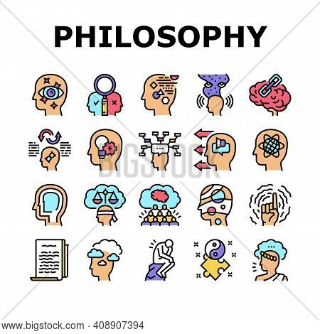 Philosophy Science Collection Icons Set Vector. Social Philosophy And Logic, Aesthetics And Ethics,