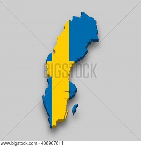 3d Isometric Map Of Sweden With National Flag. Vector Illustration.
