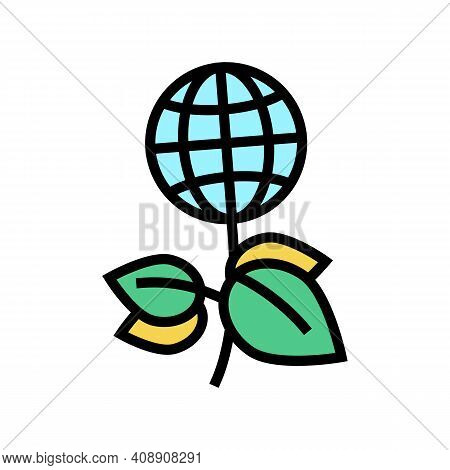 Green Plants Planet Ecosystem Color Icon Vector. Green Plants Planet Ecosystem Sign. Isolated Symbol