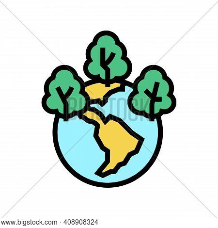 Safe Forest And Ecosystem Color Icon Vector. Safe Forest And Ecosystem Sign. Isolated Symbol Illustr
