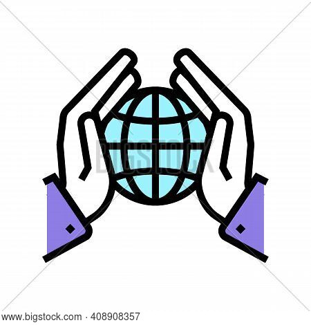 Safety Planet Ecosystem Color Icon Vector. Safety Planet Ecosystem Sign. Isolated Symbol Illustratio