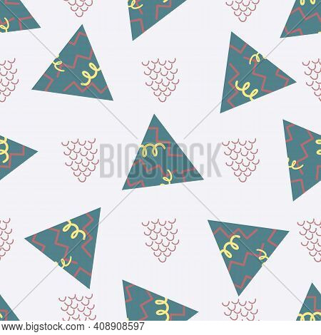 Memphis Style Triangle Abstract Waves Vector Seamless Pattern Background. White, Teal, Pink Backdrop