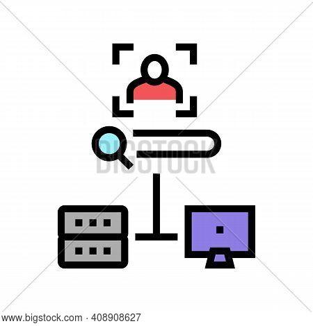 Server Data Base For Storage Face, Online Face Id App Color Icon Vector. Server Data Base For Storag