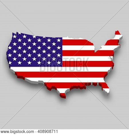 3d Isometric Map Of United States With National Flag. Vector Illustration.
