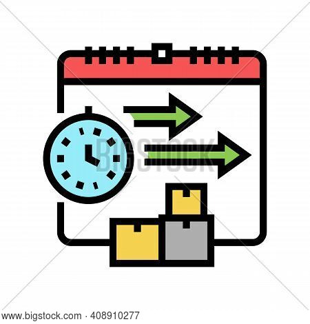 Time Delivery Procurement Color Icon Vector. Time Delivery Procurement Sign. Isolated Symbol Illustr