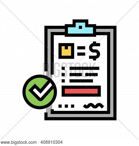 Evaluation And Contract Color Icon Vector. Evaluation And Contract Sign. Isolated Symbol Illustratio