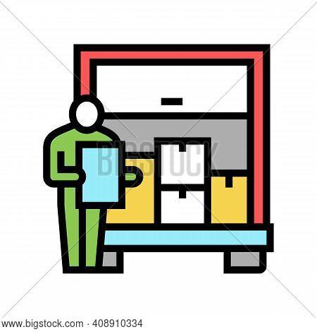 Delivering Service Procurement Color Icon Vector. Delivering Service Procurement Sign. Isolated Symb
