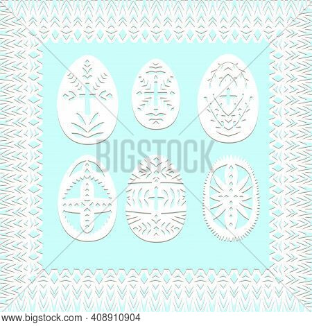 Set Of Paper Cut Festive Symbols Holiday Spring Easter Signs Egg In White Colors Isolated On Blue Ba