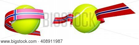Sports Tennis Ball In Ribbons With Colors Of Norway Flag. Isolated Vector On White Background