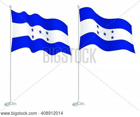 Flag Of Republic Of Honduras On Flagpole Waving In Wind. Holiday Design Element. Checkpoint For Map