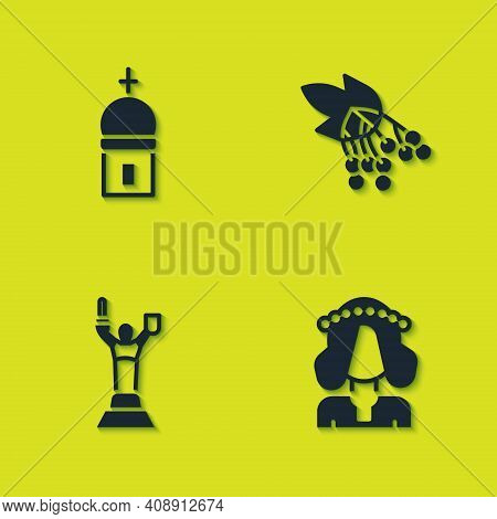 Set Church Tower, Ukrainian Woman, Mother Motherland Monument And Branch Viburnum Icon. Vector
