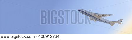The Plane Takes Off Into The Sky. Flight. Airplane Banner. Large Cargo Plane. Travel And Flights. Bl