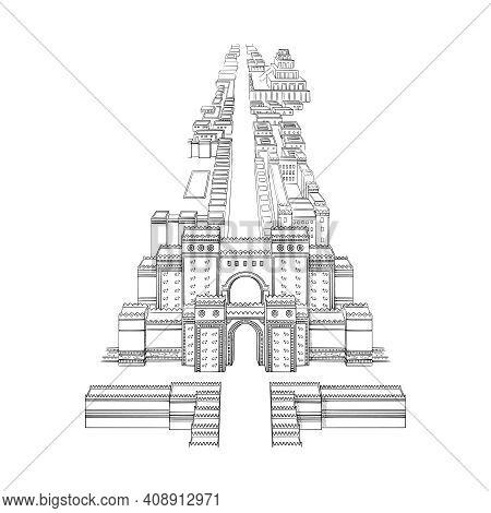 Babylon Old Building Landmark, Vector Sketch Illustration.