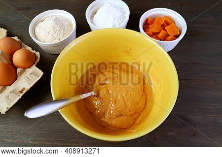 Olive Oil Added To The Batter For Baking Butternut Squash Whole Wheat Cake
