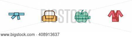 Set Black Karate Belt, Sport Bag, Apple And Measuring Tape And Japanese Costume Kimono Icon. Vector