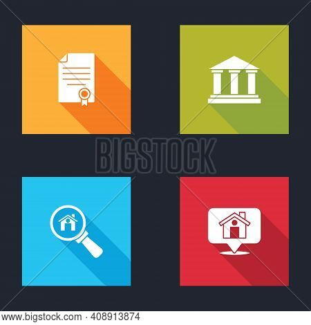 Set House Contract, Museum Building, Search House And Location With Icon. Vector
