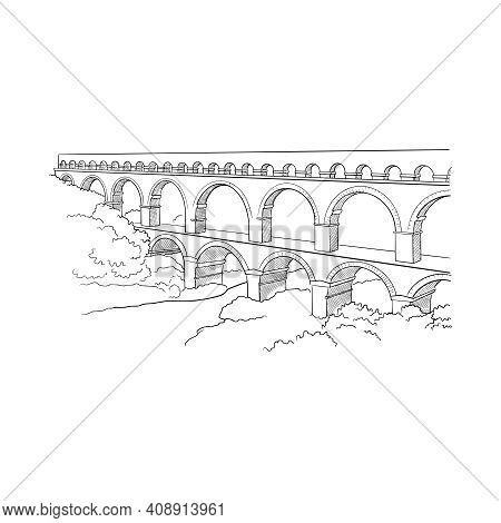 Aqueduct Avignion, France Greeting Card Design, Hand-drawn Vector Outline Sketch