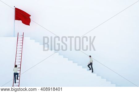 Climb To The Red Flag . Work Smart Not Hard Concept . This Is A 3d Render Illustration .