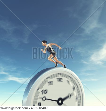 Man Running On A Clock . Runing Out Of Time And Deadline Concept . This Is A 3d Render Illustration