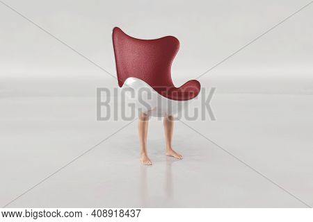 Modern Chair With Human Legs . Interior Design Concept .  This Is A 3d Render Illustration .