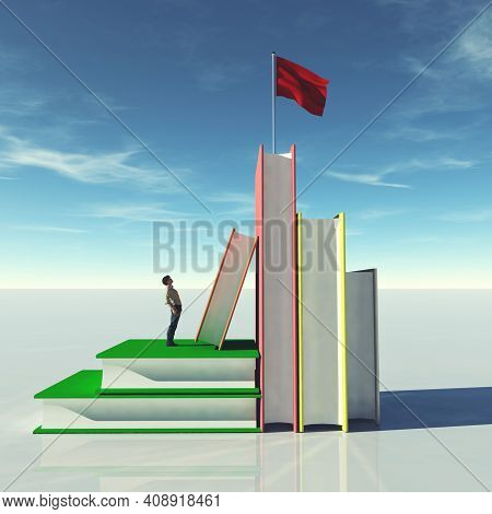 Man On Group Of Books Looks Up To A Red Flag . Scholarship And Education Concept . This Is A 3d Rend