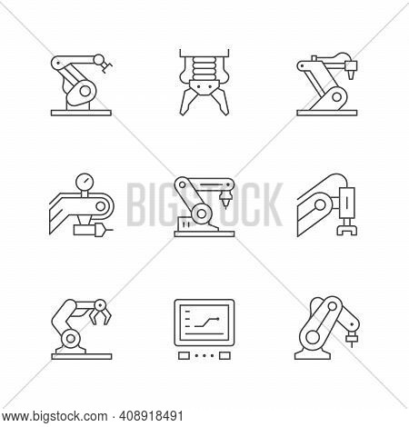 Set Line Icons Of Robotic Industry Isolated On White. Robot Arm, Production Factory, Assembly Proces
