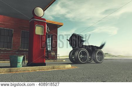 Black Horse With Car Wheels Instead Of Legs At A Gas Station . This Is A 3d Render Illustration .