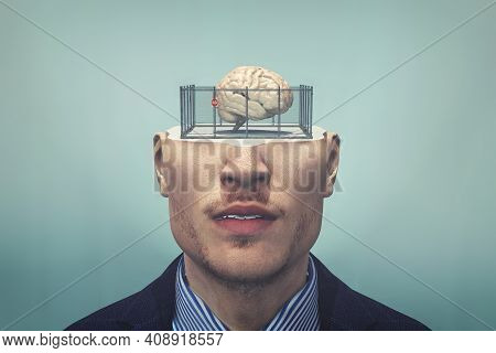 Human Brain In A Cage . Closed Mind Concept . Limited Thinking And Anxiety . Mental Illness . This I