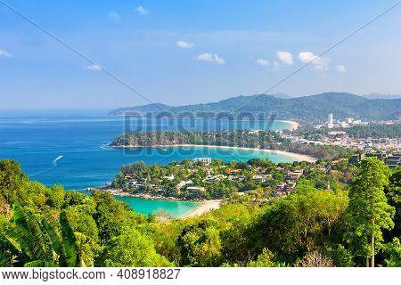 View Point Of Karon Beach, Kata Beach And Kata Noi In Phuket, Thailand. Beautiful Turquoise Sea And