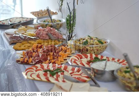 Magny Le Hongre,  France - April 13, 2019 : A Buffet Of Various Appetizer On A Large Table At A Wedd