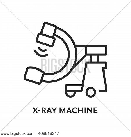 X-ray Machine Flat Line Icon. Vector Illustration Medical Equipment For Examination