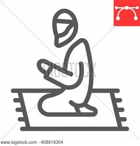 Muslim Prayer Line Icon, Happy Ramadan And Religion, Islamic Prayer Vector Icon, Vector Graphics, Ed