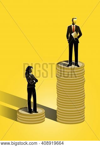An Illustration Of Gender Equality With Businessman And Businesswoman