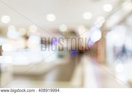 Abstract Blur Shopping Mall Background. Abstract Shopping Mall And Retails Store Interior For Backgr
