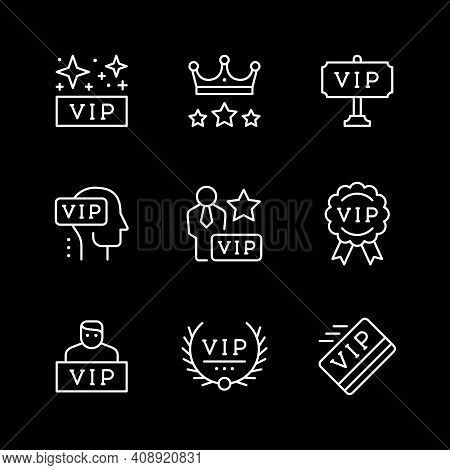 Set Line Icons Of Vip Isolated On Black. Very Important Person, Pass Card, Royal Sign, Celebrity Sym