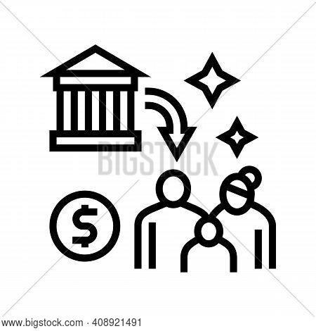 Social Benefits Line Icon Vector. Social Benefits Sign. Isolated Contour Symbol Black Illustration