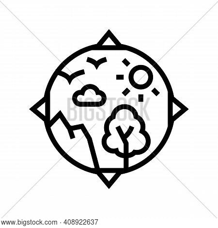 Biosphere Ecosystem Line Icon Vector. Biosphere Ecosystem Sign. Isolated Contour Symbol Black Illust