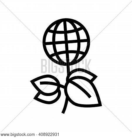 Green Plants Planet Ecosystem Line Icon Vector. Green Plants Planet Ecosystem Sign. Isolated Contour